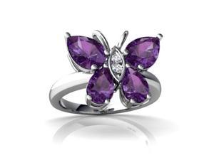 Amethyst Butterfly Ring 14K White Gold Genuine Pear