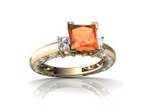 Fire Opal Engagement Ring 14K Yellow Gold Genuine Square