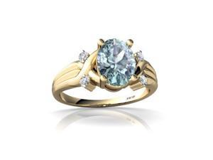 Aquamarine Ring 14K Yellow Gold Genuine Oval