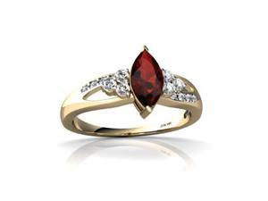 Garnet Antique Style Ring 14K Yellow Gold Genuine Marquise
