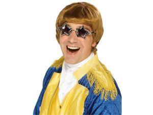 Elton John Caramel Wig - Star Glasses
