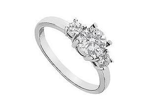 Three Stone Diamond Engagement Ring 14K White Gold 1.00 CT Diamonds