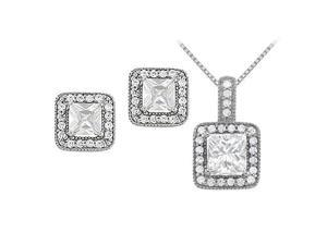 April Birthstone Square Cubic Zirconia Halo Earrings and Pendant in Sterling Silver