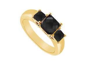 14K Yellow Gold Princess Prong Set Black Diamond Three Stone Ring 0.50 CT TDW