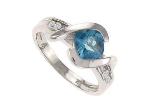 Created Blue Topaz and Diamond Ring 14K White Gold 1.75 CT TGW