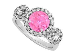 Triple Halo Two Stones Pink Sapphire and Cubic Zirconia Engagement Ring