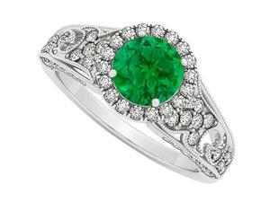 May Birthstone Emerald with CZ April Birthstone Halo Engagement Ring in 925 Sterling Silver