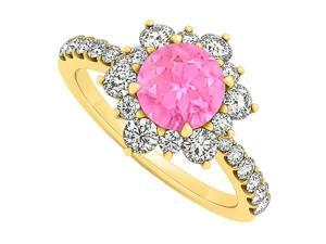 14K Yellow Gold September Birthstone Pink Sapphire and Cubic Zirconia Floral Engagement Ring