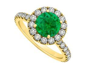 May Birthstone Emerald and CZ April Birthstone Halo Engagement Ring in 14K Yellow Gold