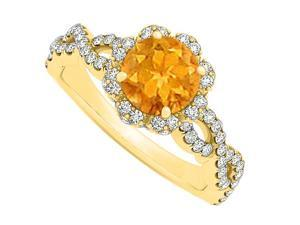 Criss Cross Shank Halo Engagement Ring with November Birthstone Citrine and CZ April Birthstone