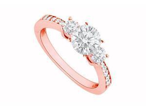 April Birthstone Diamond Three Stone Engagement Rings in 14K Rose Gold 1.00 CT TDW