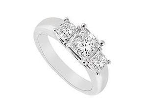 Three Stone Diamond Ring 14K White Gold 0.50 CT Diamonds