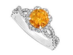 November Birthstone Citrine and CZ April Birthstone in Criss Cross Shank Halo Engagement Ring