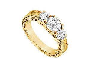 Three Stone Diamond Ring 14K Yellow Gold 0.75 CT Diamonds