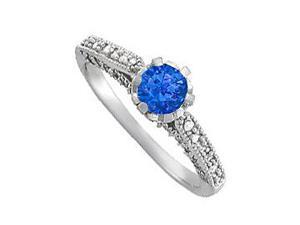 1.00 Carat September Birthstone Sapphire and Diamonds Engagement Ring in 14K White Gold