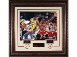 Michael Jordan and Magic Johnson unsigned Engraved Collection 33x32