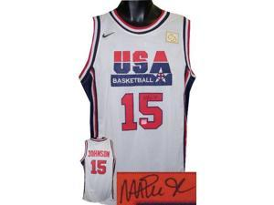 Magic Johnson signed Team USA Olympic Dream Team White Nike Jersey L (front sig)