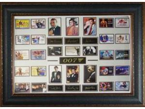 George Lazenby unsigned James Bond 26X35 Engraved Signature Series Leather Framed w/ 6 James Bond's (movie/entertainment)