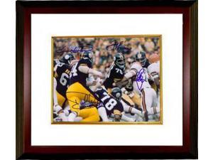 Steel Curtain signed Pittsburgh Steelers 8X10 Photo Custom Framed Color Action 4 signatures