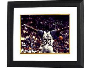 Patrick Ewing signed Georgetown Hoyas 16x20 Photo Custom Framed (arms out)- Steiner Hologram