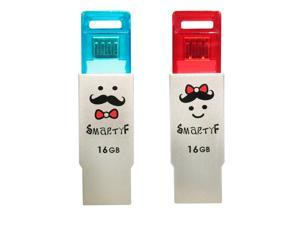 TCELL USB2.0/MicroB Dual Usage OTG (On-the-Go) USB Flash Drive 16GB-SmartyF Couple for Smartphones