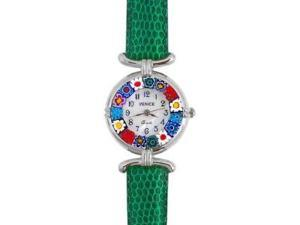 Venezia Millefiori Watch - Green Band & Silver