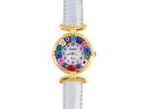 Venezia Millefiori Watch - Gray Band & Gold
