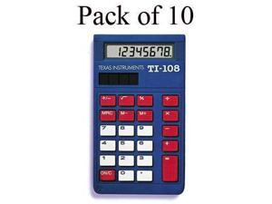 Texas Instruments TI-108 Simple Calculator - Large Display, Slide-on Hard Case - 8 Digits - LCD - Plastic