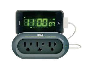 RCA PCHSTAT1R TRAVEL CHARGING STATION WITH SURGE PROTECTION & DEVICE CRADLE - GRAY