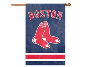 Party Animal AFBOS 44 in. x 28 in. 2 - Sided Applique Banner Flag - Red Sox