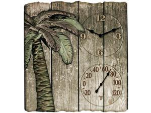 "TAYLOR 91940 12"" x 13"" Palm Tree Poly Resin Clock with Thermometer"