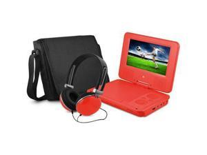 Ematic EPD707RD 7-Inch Portable DVD Player with Matching Headphones and Bag (Red)
