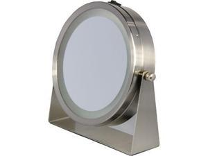 Floxite 8x/1x 360? Lighted Home and Travel Mirror - Brushed Nickel Metal