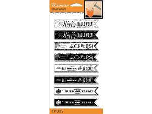 Jolee's Halloween Straw Wraps 8/Pkg-Black & White