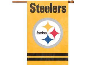 "Party Animal Steelers Gold Applique Banner Flag - 44"" x 28"" - Heavyweight, Weather Resistant, Embroidered, Hang Tab, Applique, Double-sided - Nylon"