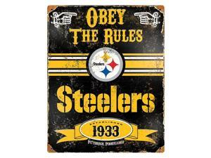 "Party Animal Steelers Vintage Metal Sign - ""Obey The Rules"" - 11.5"" Width x 14.5"" Height - Steel"