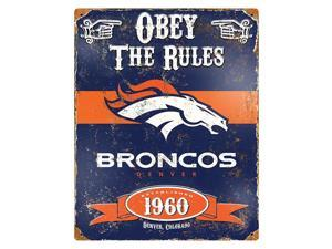 """Party Animal Broncos Vintage Metal Sign - 1 Each - Obey The Rules Print/Message - 11.5"""" Width x 14.5"""" Height - Rectangular Shape - Heavy Duty, Embossed Lettering, Rivet - Steel"""