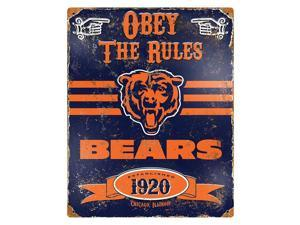 """Party Animal Bears Vintage Metal Sign - 1 Each - Obey The Rules Print/Message - 11.5"""" Width x 14.5"""" Height - Rectangular Shape - Heavy Duty, Embossed Lettering, Rivet - Steel"""