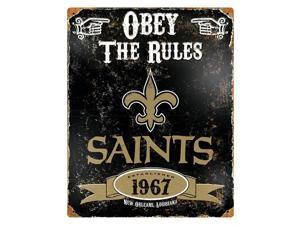 "Party Animal Saints Vintage Metal Sign - 1 Each - Obey The Rules Print/Message - 11.5"" Width x 14.5"" Height - Rectangular Shape - Heavy Duty, Embossed Lettering, Rivet - Steel"