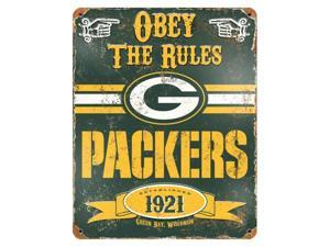 "Party Animal Packers Vintage Metal Sign - 1 Each - Obey The Rules Print/Message - 11.5"" Width x 14.5"" Height - Rectangular Shape - Heavy Duty, Embossed Lettering, Rivet - Steel"