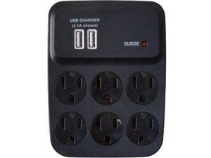 Woods 8-Outlets Surge Suppressor - 6 x AC Power, 2 x USB - 900 J - 5 V DC Output