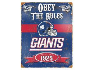 "Party Animal Giants Vintage Metal Sign - 1 Each - Obey The Rules Print/Message - 11.5"" Width x 14.5"" Height - Rectangular Shape - Heavy Duty, Embossed Lettering, Rivet - Steel"