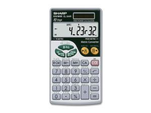 "Sharp EL344RB Metric Conversion Travel Calculator - Sign Change, Dual Power, Extra Large Display - Battery/Solar Powered - Battery Included - 2.8"" x 0.2"" x 0"" x 7.5"" - Silver - 1 Each"