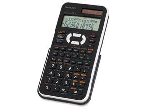 "Sharp EL506X Scientific Calculator - Dual Power, Extra Large Display, Automatic Power Down, Protective Hard Shell Cover - Battery/Solar Powered - 3.3"" x 6"" x 0.5"" x 10"" - Black, White - 1 Each"