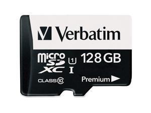 Verbatim 128GB Premium microSDXC Memory Card with Adapter, UHS-I Class 10 - TAA Compliant - Class 10/UHS-I (U1) - 45 MB/s Read1 Pack