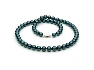 Unique Pearl Akoy Black Pearl Necklace - 14k White Gold Clasp, 7mm AA+ Quality Pearls, 18-Inch