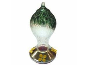 Textured Glass Hummingbird Feeder With Metal Base Green