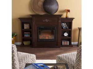 Southern Enterprises FE8545 Tennyson Electric Fireplace w/ Bookcases - Classic Espresso