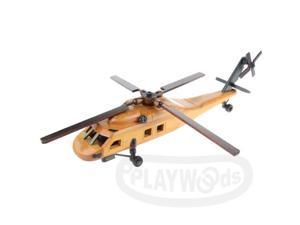 [PLAYWOODS][Old Curios] Classical Decoration:Transport Helicopter (Wooden)