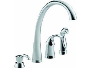 Delta Single Handle Kitchen Faucet With Spray and Soap Or Lotion Dispenser